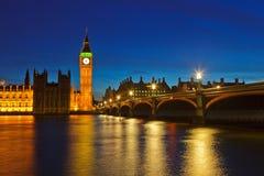 Big Ben and Houses of Parliament. At night, London, UK Stock Photos