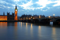 Big Ben and Houses of Parliament. At night, London, UK Royalty Free Stock Photo