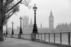 Big Ben & Houses of Parliament. Black and white photo, monochrome photography Royalty Free Stock Photography