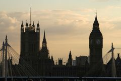 Big Ben and Houses of Parliament. London at dusk stock photo