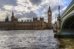 London attractions Big Ben and Westminster Bridge landscape during a Winter sunset stock images