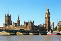 Big Ben. And Houses of Parliament with bridge and thames river in London, United Kingdom, uk Royalty Free Stock Photo