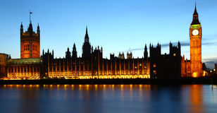 Big Ben & houses of parliament at dusk Royalty Free Stock Image