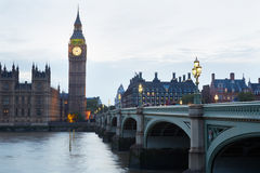 Big Ben and Houses of parliament at dusk in London. Natural light and colors Stock Photo