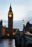 Big Ben and Houses of parliament at dusk in London Royalty Free Stock Photo