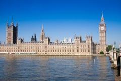 Big Ben, Houses of Parliament London. Big Ben, Houses of Parliament overlooking River Thames on bright sunny morning, London England Stock Photo