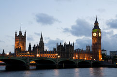 Big Ben and Houses of Parliament in London. Famous British landmarks in the evening Stock Image
