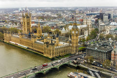 Big Ben and Houses of Parliament, London. Airview of Big Ben, House of Parliament, River Thames, Westminster Bridge, and London city Stock Photo