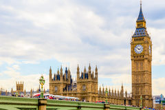 Big Ben and Houses of Parliament, London, UK. Big Ben and Houses of Parliament against cloudy sky in London, UK, daytime stock image
