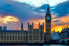 Big Ben and Houses of Parliament, London, UK. Orange sunset at Big Ben and Houses of Parliament, London, UK royalty free stock images