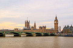 Big Ben and Houses of Parliament in London. UK at sunset Royalty Free Stock Photo
