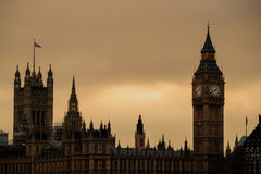 Big Ben and Houses of Parliament in London. UK at sunset Royalty Free Stock Image