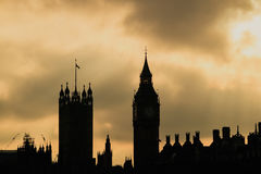 Big Ben and Houses of Parliament in London. UK at sunset Stock Photos