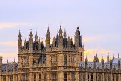 Big Ben and Houses of Parliament in London. UK at sunset Stock Image