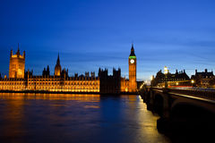 Big Ben and Houses of Parliament at night Royalty Free Stock Photos