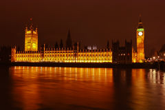 Big Ben & The Houses of Parliament at Night. A view of the London Houses of Parliament from the River Thames at night Royalty Free Stock Images
