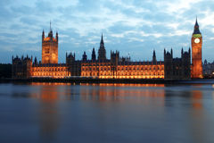 Big Ben and Houses of Parliament at night royalty free stock images