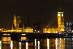 Big Ben & Houses of Parliament at night. LONDON - NOVEMBER 15: Palace of Westminster and Westminster Bridge at night on November 15, 2012 in London. The Palace Stock Photography