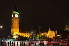 Big Ben and Houses of Parliament in night lights. Popular tourist Big Ben and Houses of Parliament in night lights illumination in London, England, United Stock Image