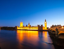 Big Ben with the Houses of Parliament at night. In London Stock Image