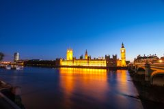 Big Ben with the Houses of Parliament at night. In London Royalty Free Stock Image