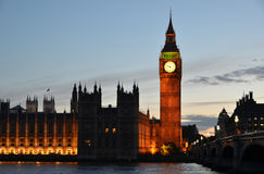 Big Ben and Houses of parliament. At night, London Royalty Free Stock Photos