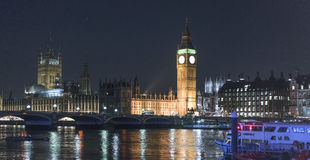 Big Ben and Houses of Parliament at night  - London England  UK Royalty Free Stock Photography