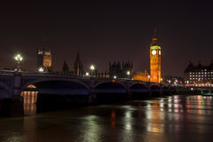 Big Ben and Houses of Parliament. At night, London, UK Royalty Free Stock Photography