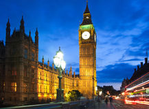 Big Ben and houses of parliament in the night, London. LONDON, UK - JULY 21, 2014: Big Ben and houses of parliament in the night Royalty Free Stock Photography