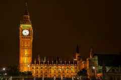 Big Ben of the Houses of Parliament at night Royalty Free Stock Image
