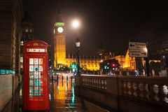 Big Ben and Houses of Parliament red phone booth Stock Photo