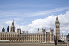 Big Ben and the Houses of Parliament with the River Thames, Lond Stock Image