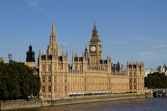 Big Ben, Houses of Parliament and River Thames Stock Photos