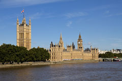 Big Ben, Houses of Parliament, and the River Thames Royalty Free Stock Images