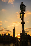 Big Ben and Houses of Parliament in Silhouette. The Houses of Parliament and Westminster Bridge, in silhouette, London, UK Stock Image