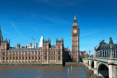 Big Ben. Houses of Parliament and Big Ben at sunset, London UK Royalty Free Stock Photo
