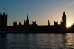 Big Ben. Houses of Parliament and Big Ben at sunset, London UK Royalty Free Stock Image