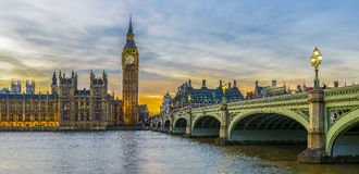 Big Ben and Houses of Parliament at sunset, London Royalty Free Stock Photo