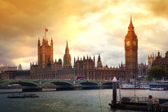 Big Ben and houses of Parliament. Thames embankment Stock Image