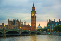 Big Ben and houses of Parliament. Thames embankment Stock Photo