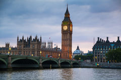 Big Ben and houses of Parliament. Thames embankment Royalty Free Stock Photo