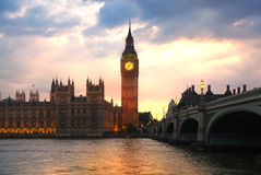Big Ben and houses of Parliament. Thames embankment Stock Images