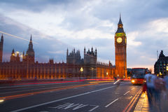 Big Ben and houses of Parliament. Thames embankment Stock Photos