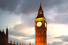 Big Ben and houses of Parliament. Thames embankment Royalty Free Stock Photos