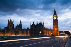 Big Ben and houses of Parliament. Thames embankment Royalty Free Stock Images