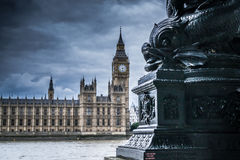 Big Ben and Houses of Parliament with Thames Stock Images