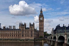 Big Ben, Houses of Parliament, Thames, London, UK. The houses of Parliament and the Big Ben with the Thames in London, Great Britain Stock Images