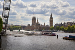 Big Ben and Houses of Parliament on Thames river Royalty Free Stock Image