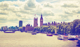 Big Ben and Houses of Parliament on Thames river, London Stock Photos
