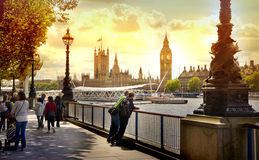 Big Ben and Houses of Parliament on Thames river, London Royalty Free Stock Images